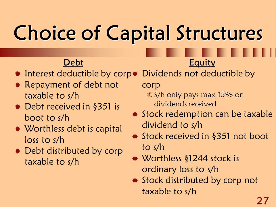 Choice of Capital Structures