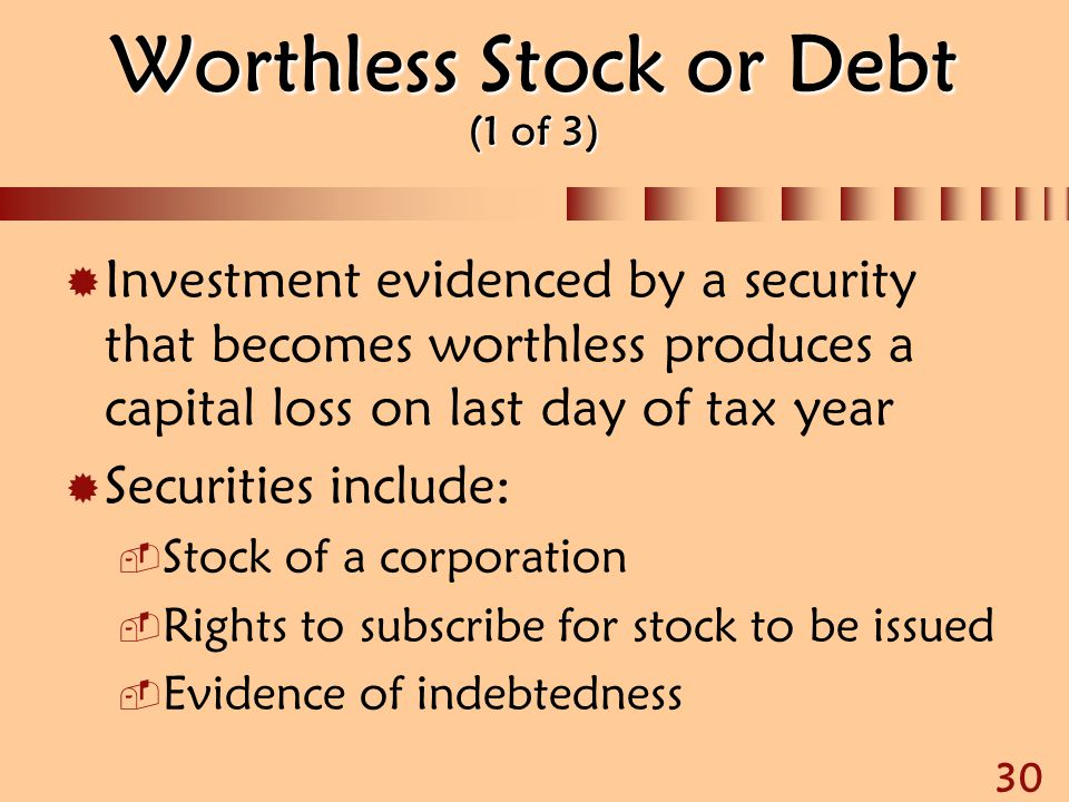 Worthless Stock or Debt (1 of 3)