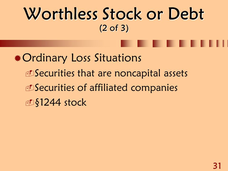 Worthless Stock or Debt (2 of 3)