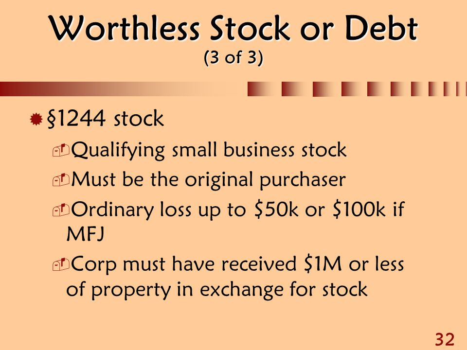 Worthless Stock or Debt (3 of 3)
