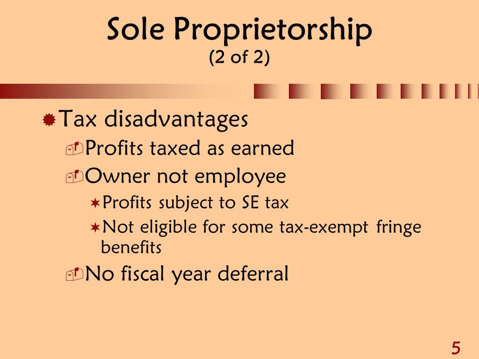 Sole Proprietorship (2 of 2)