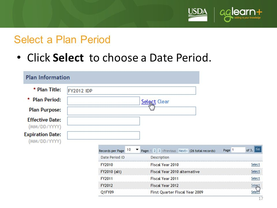 Click Select to choose a Date Period.