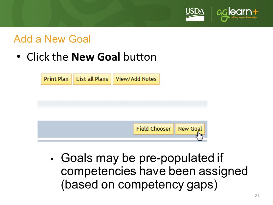 Click the New Goal button
