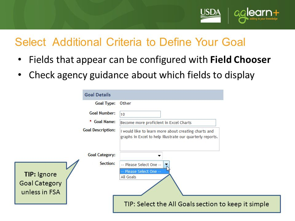 Select Additional Criteria to Define Your Goal