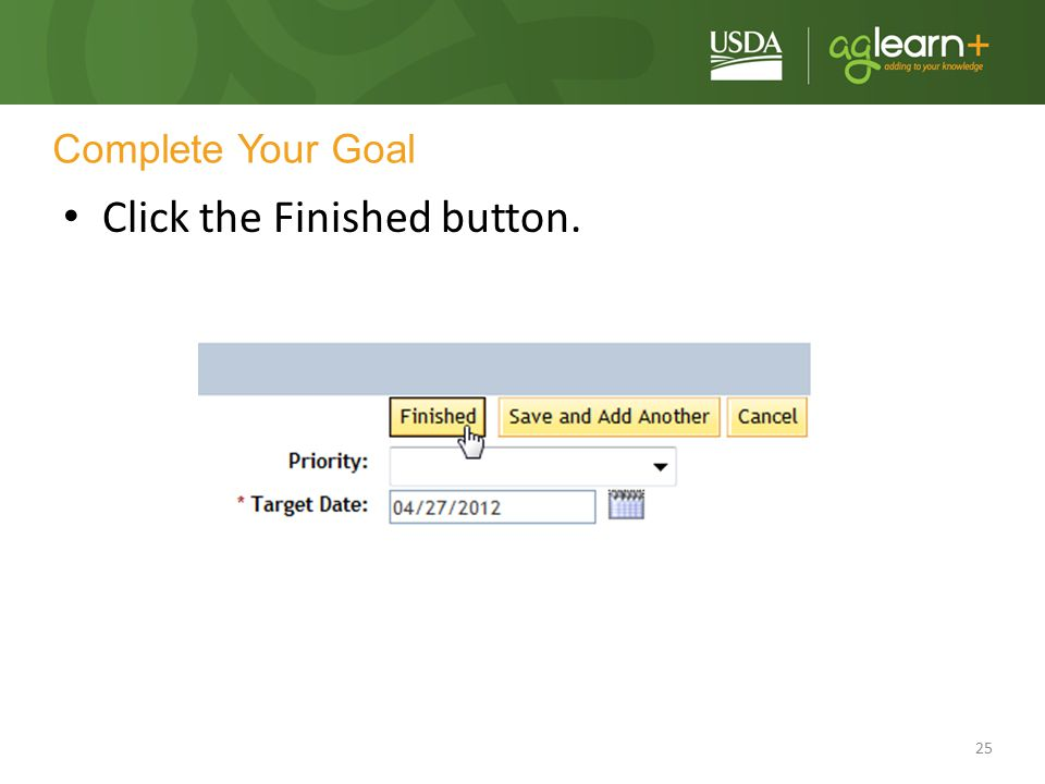 Click the Finished button.
