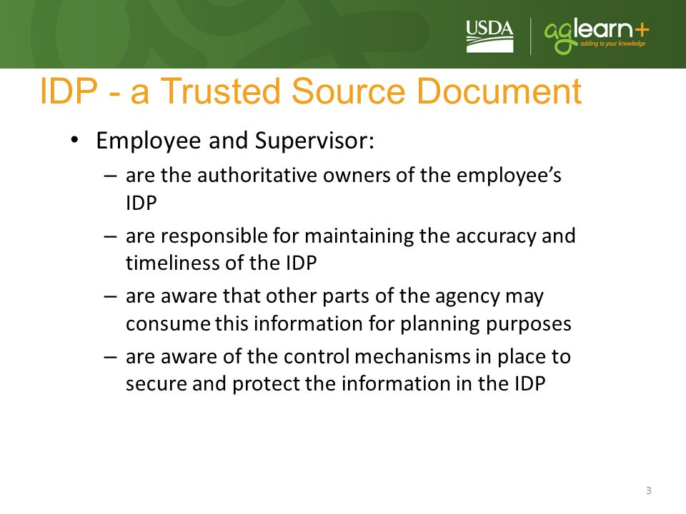 IDP - a Trusted Source Document