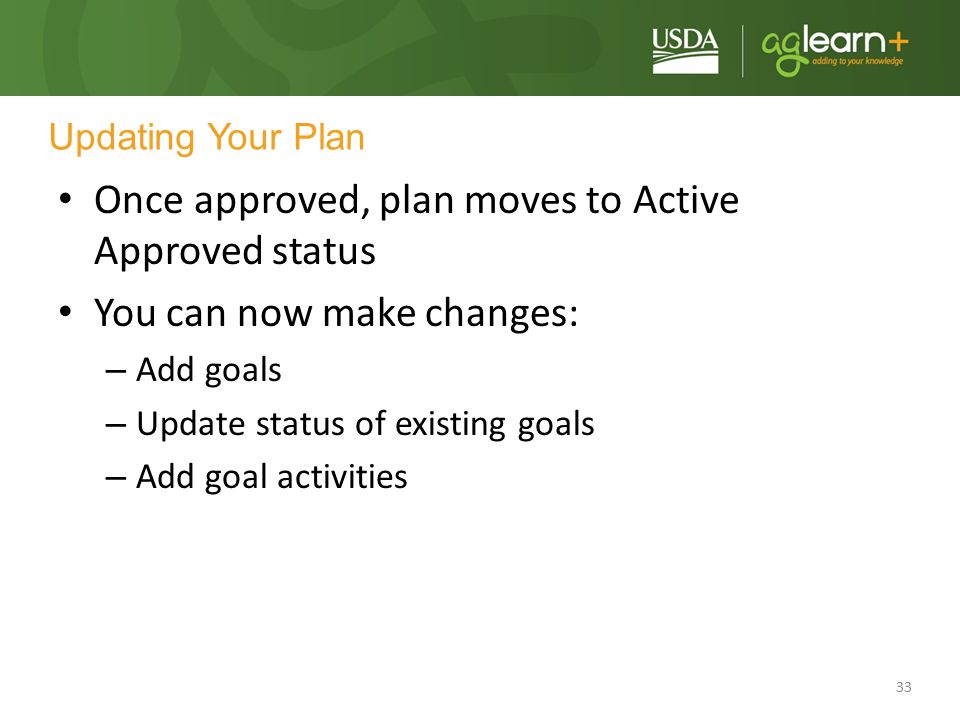 Once approved, plan moves to Active Approved status