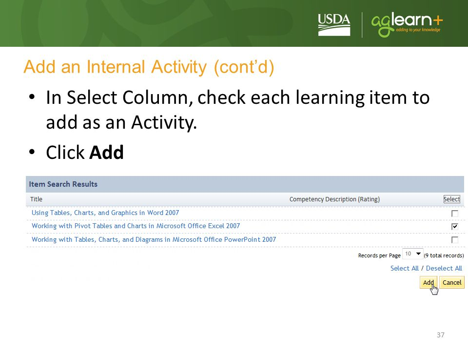 Add an Internal Activity (cont'd)