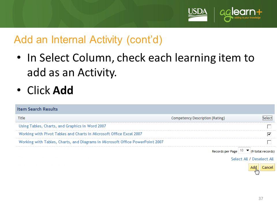 Add an Internal Activity (cont'd)