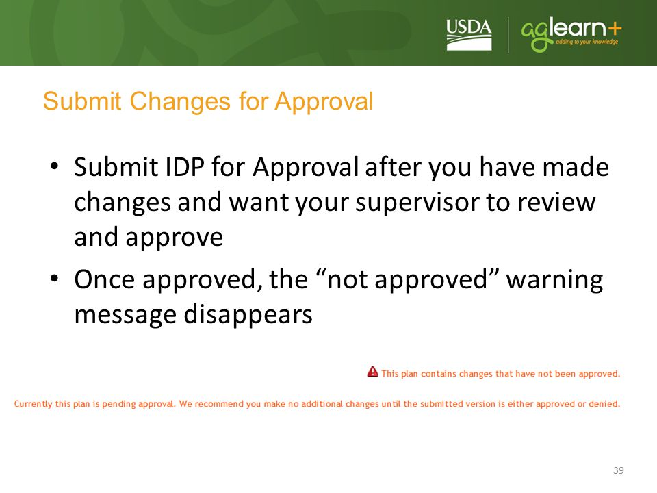 Submit Changes for Approval