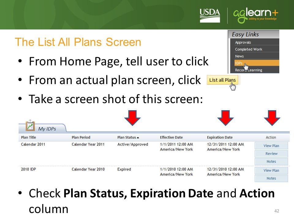 The List All Plans Screen