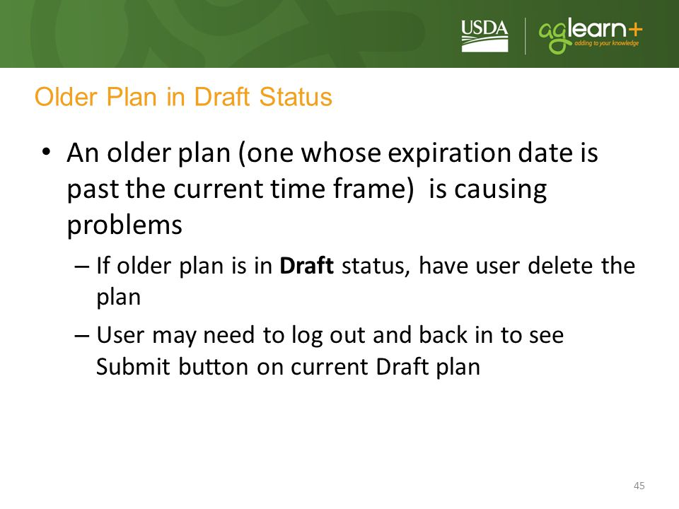 Older Plan in Draft Status