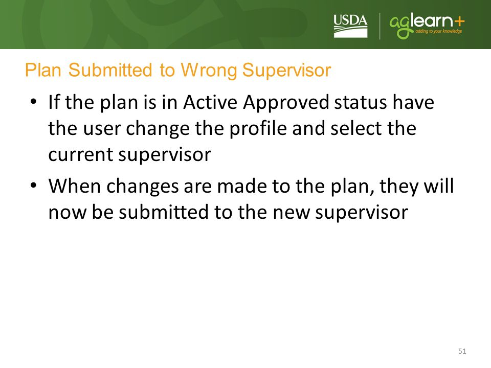 Plan Submitted to Wrong Supervisor