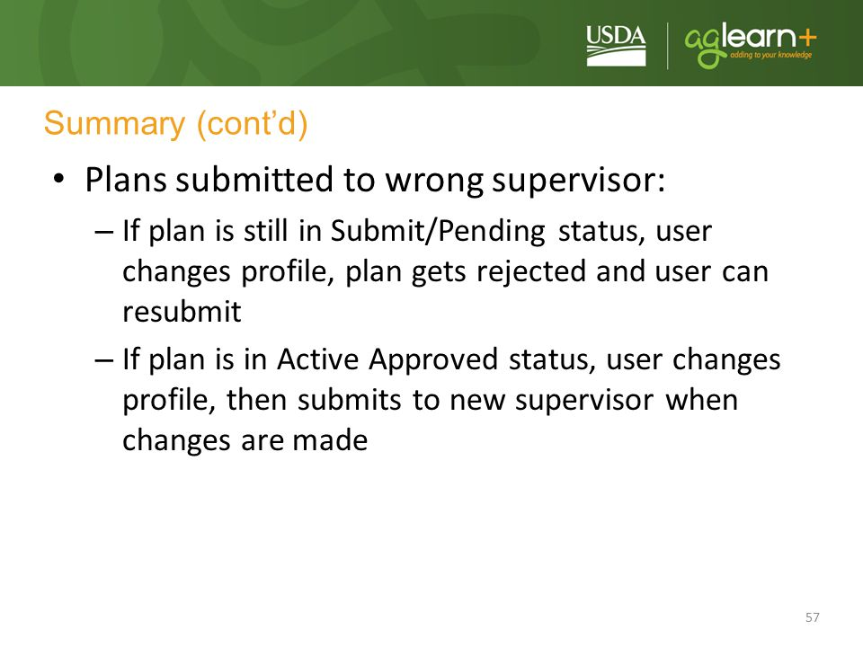 Plans submitted to wrong supervisor: