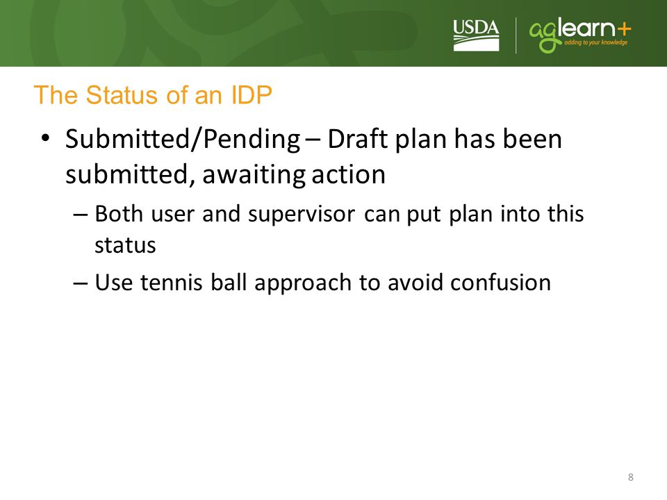 Submitted/Pending – Draft plan has been submitted, awaiting action