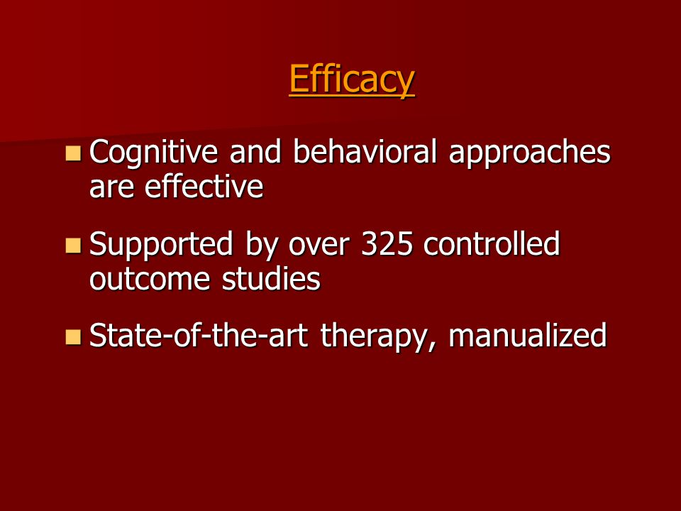the effects of cognitive behavioral therapy The surest way to abuse any therapy method is to practice it on yourself that's guaranteed to distort the process out of recognition you are your own moving target.