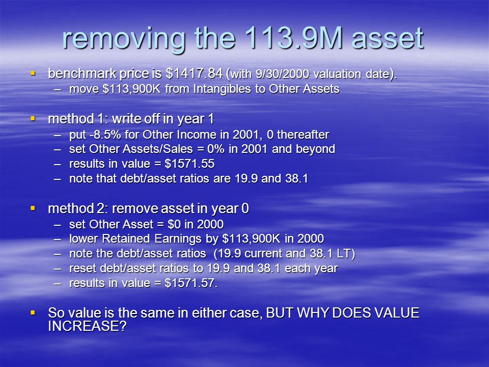 removing the 113.9M asset benchmark price is $1417.84 (with 9/30/2000 valuation date). move $113,900K from Intangibles to Other Assets.