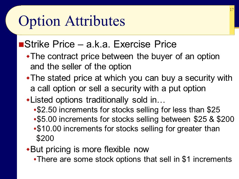 Option Attributes Strike Price – a.k.a. Exercise Price
