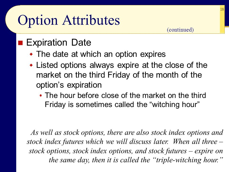 Option Attributes Expiration Date The date at which an option expires