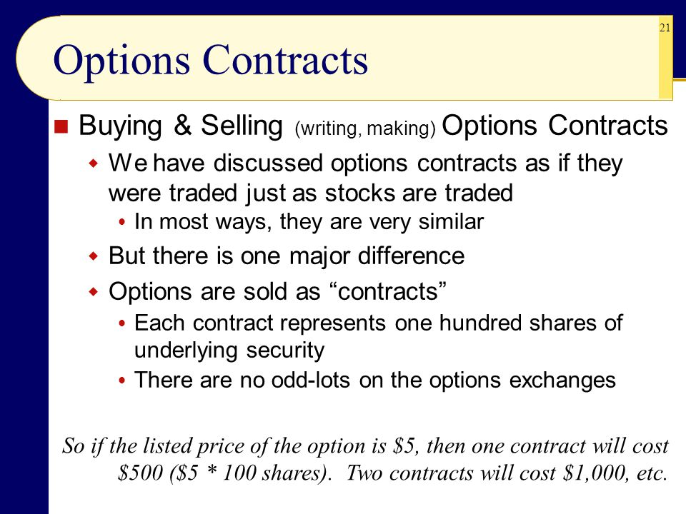 Options Contracts Buying & Selling (writing, making) Options Contracts