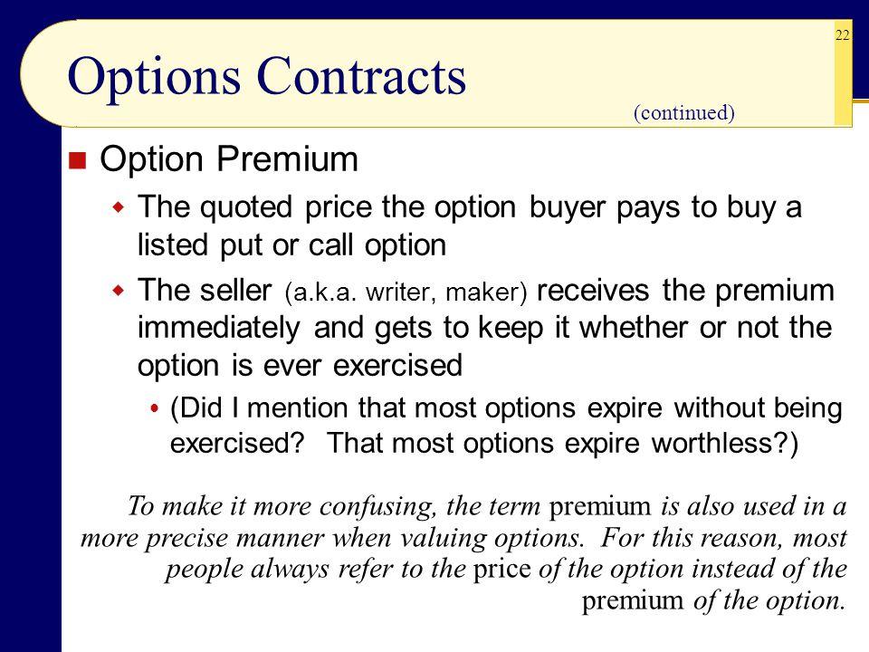Options Contracts Option Premium