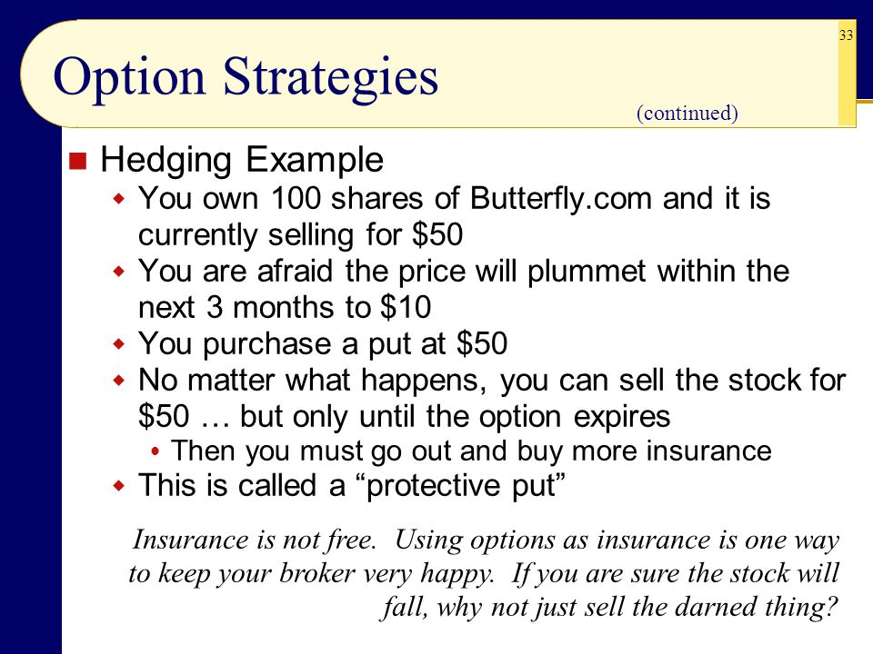 Option Strategies Hedging Example