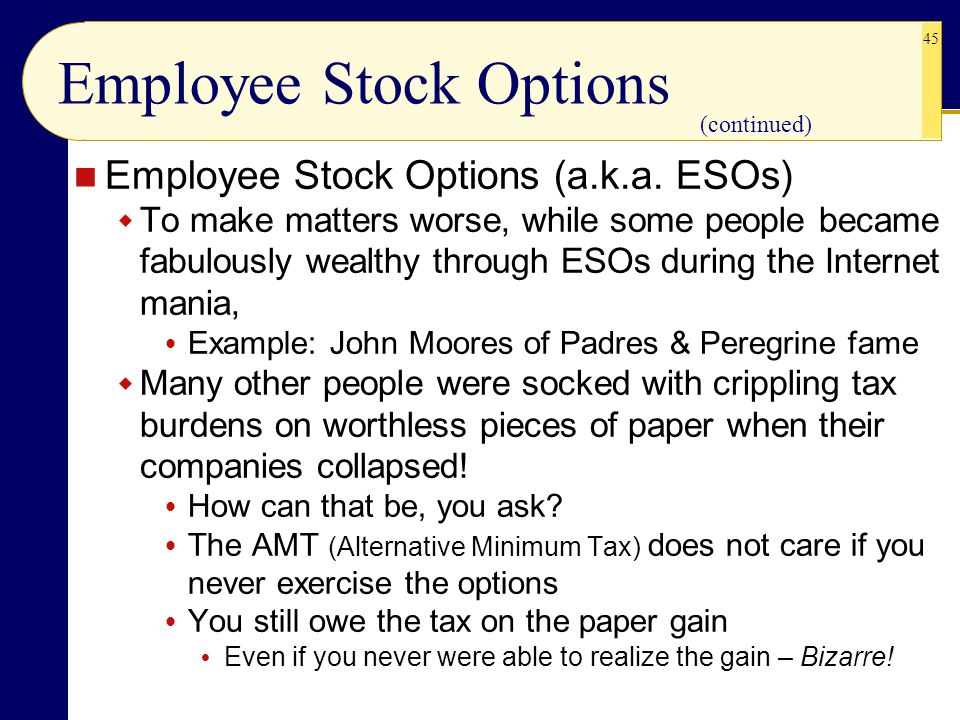 Employee stock options tax example