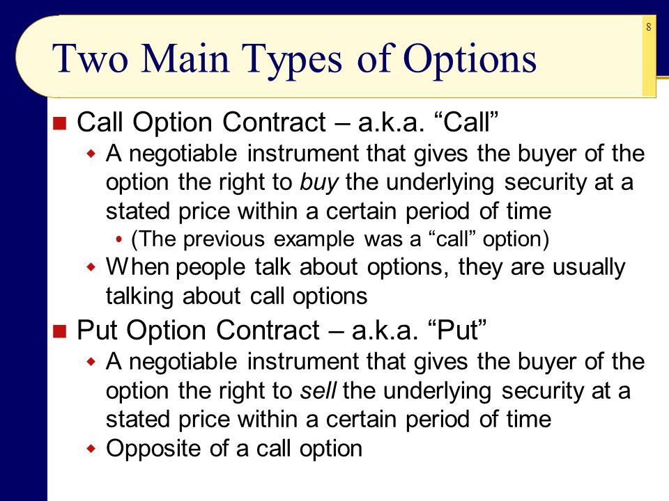 Two Main Types of Options
