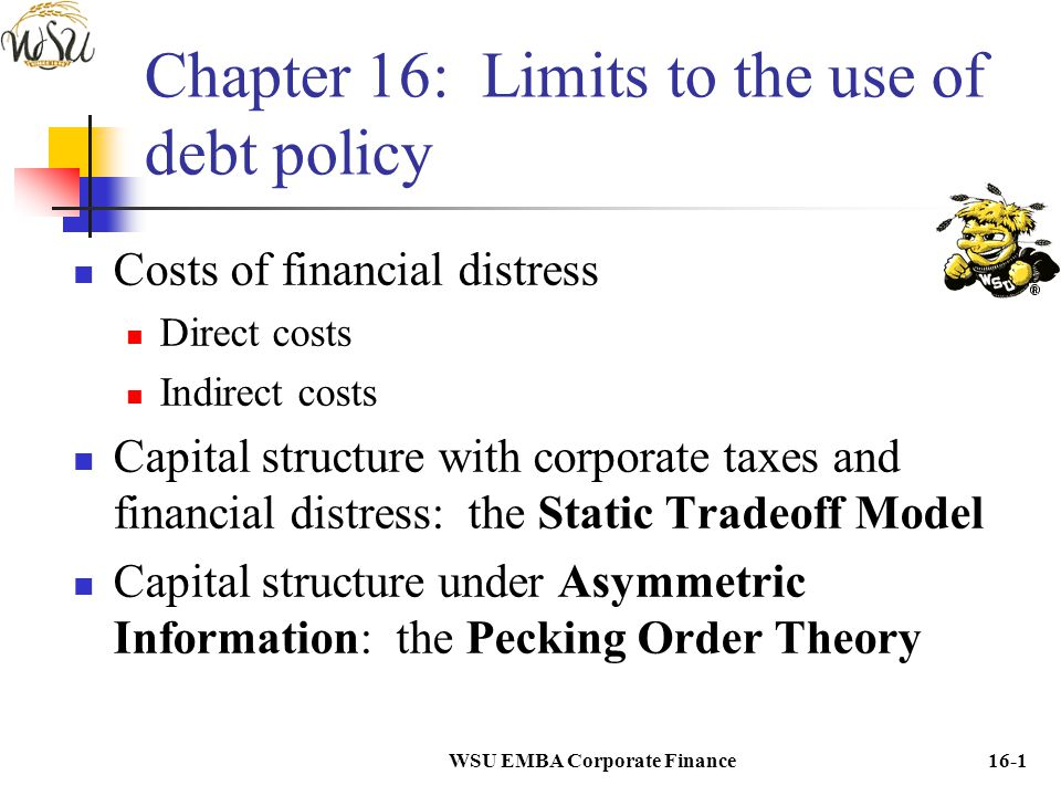 Chapter 16: Limits to the use of debt policy