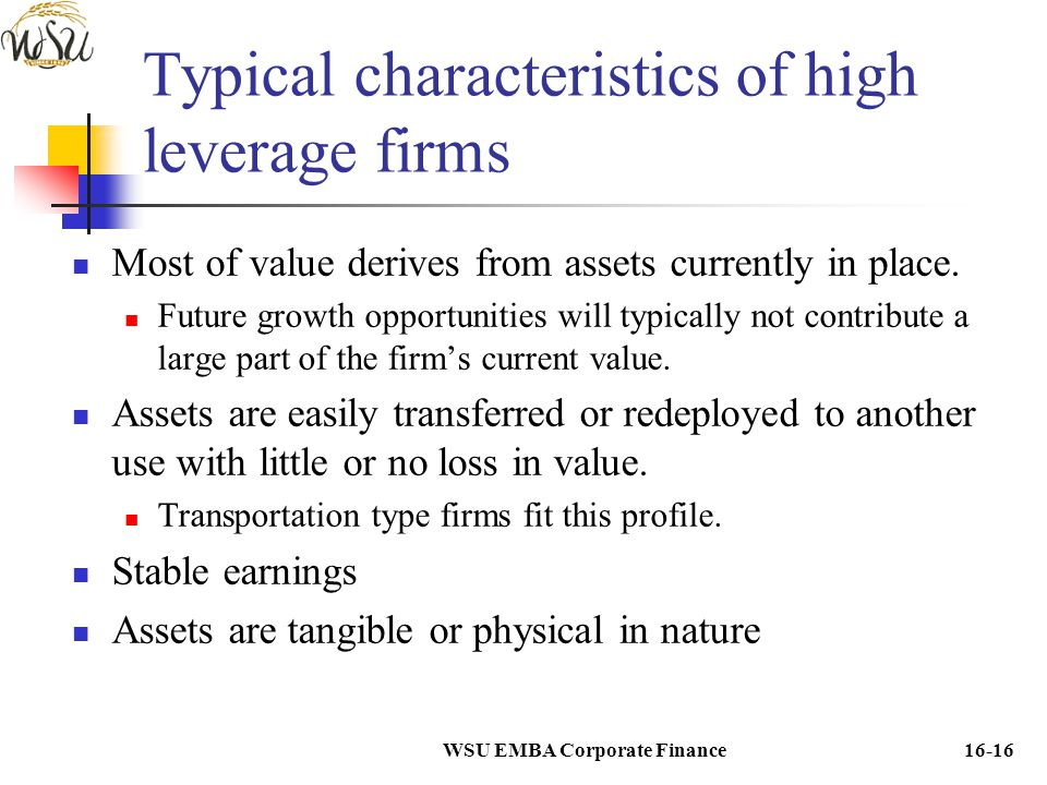 Typical characteristics of high leverage firms