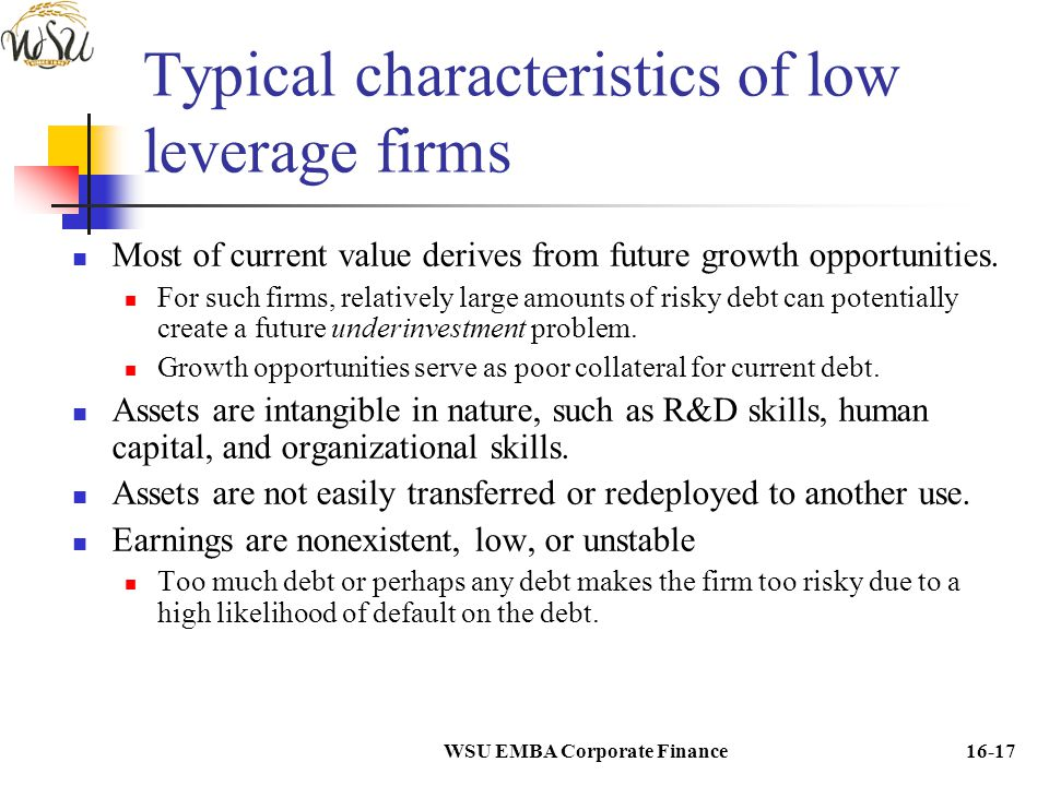Typical characteristics of low leverage firms