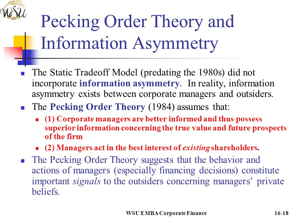 Pecking Order Theory and Information Asymmetry