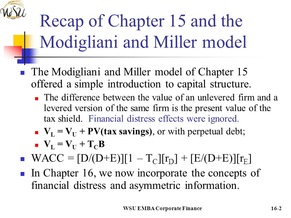 Recap of Chapter 15 and the Modigliani and Miller model