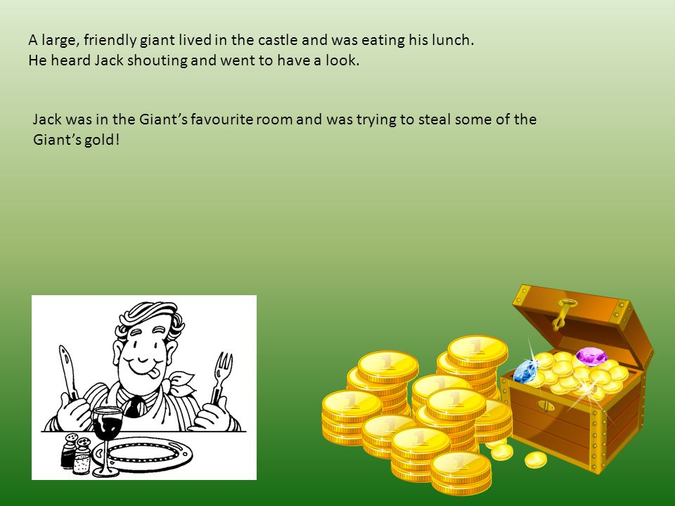 A large, friendly giant lived in the castle and was eating his lunch.