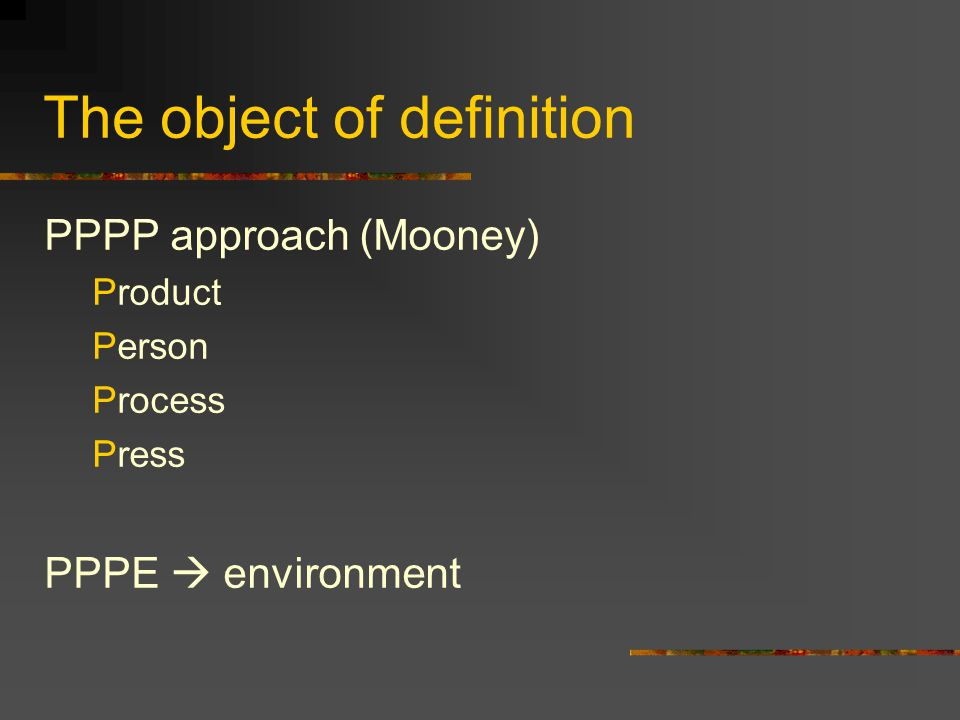 The object of definition
