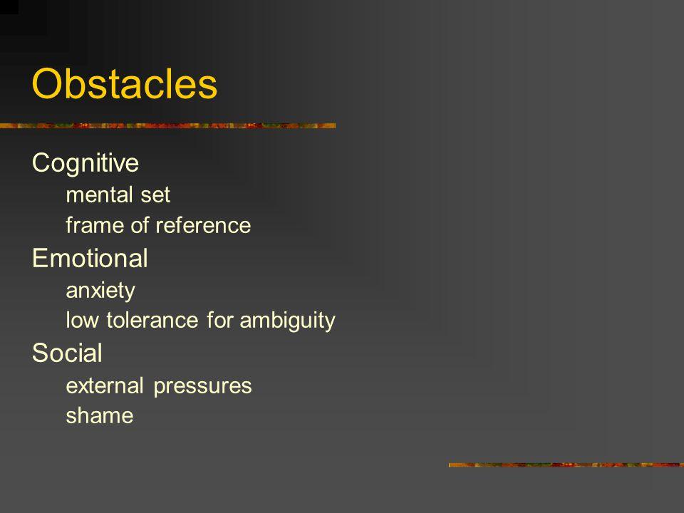 Obstacles Cognitive Emotional Social mental set frame of reference