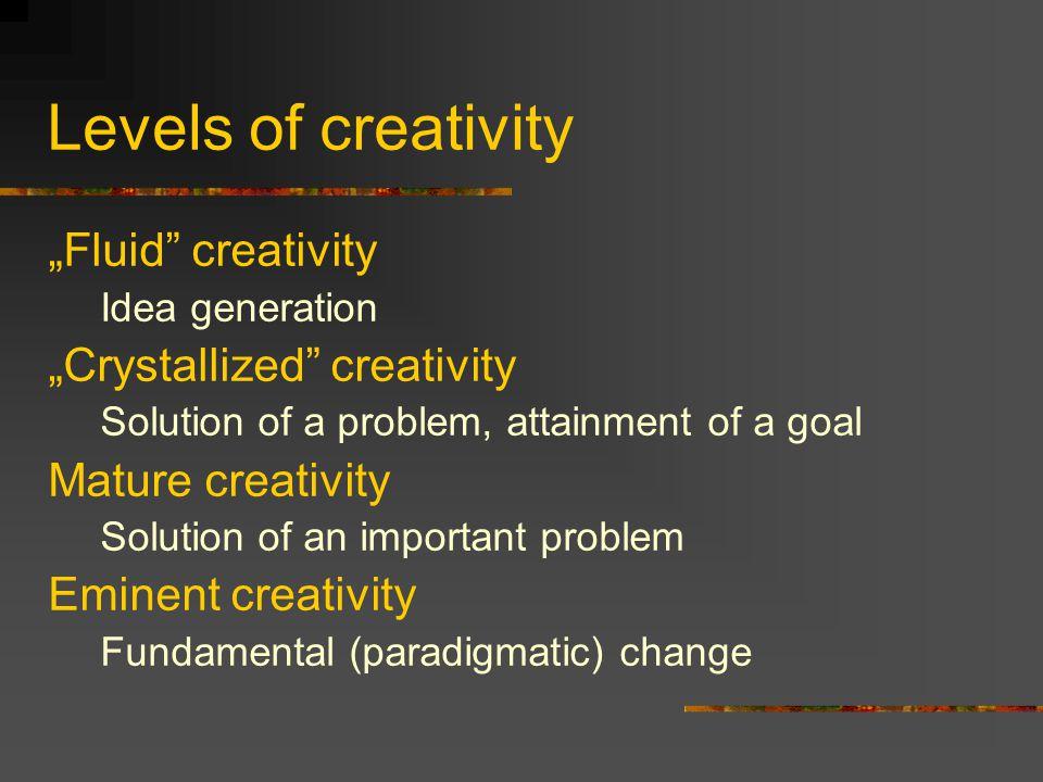 "Levels of creativity ""Fluid creativity ""Crystallized creativity"