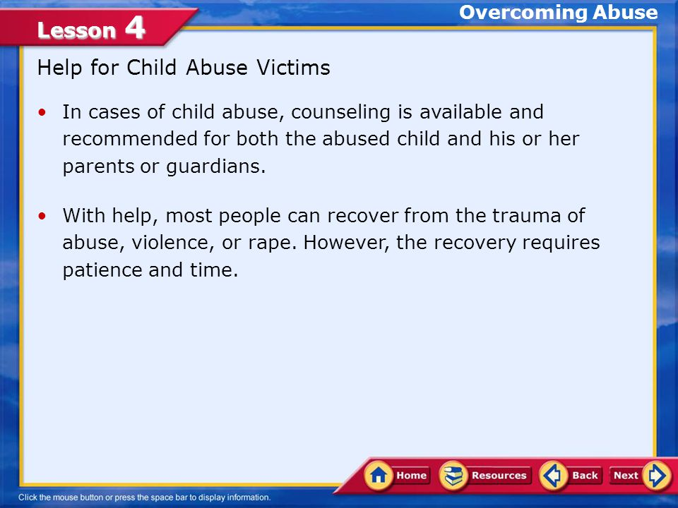Help for Child Abuse Victims