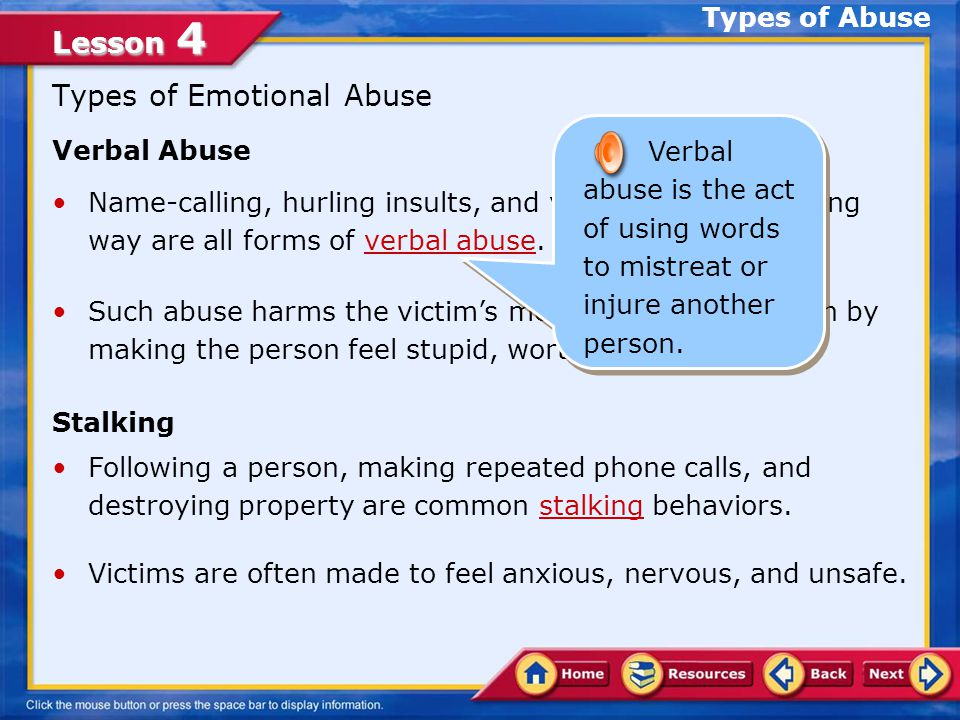 Types of Emotional Abuse
