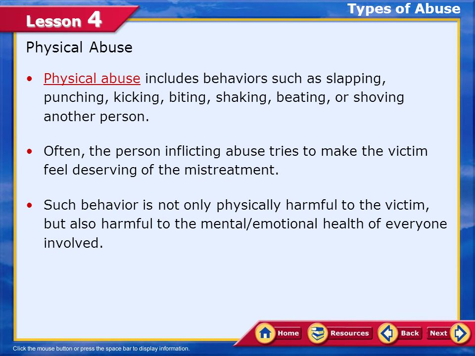 Physical Abuse Types of Abuse