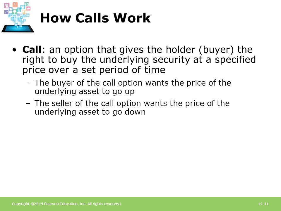 How Calls Work Call: an option that gives the holder (buyer) the right to buy the underlying security at a specified price over a set period of time.