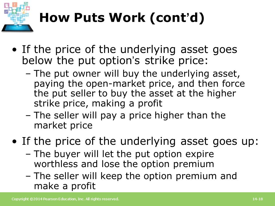 How Puts Work (cont'd) If the price of the underlying asset goes below the put option's strike price: