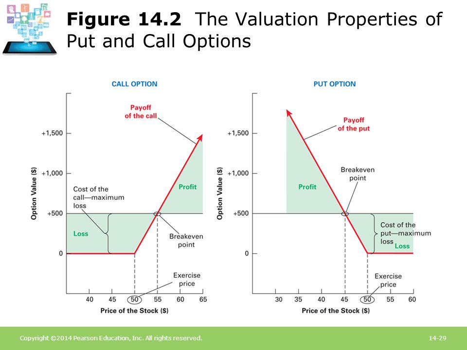 Figure 14.2 The Valuation Properties of Put and Call Options