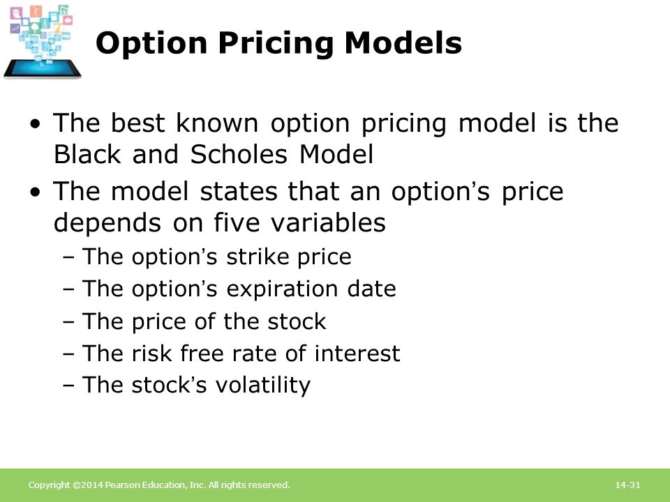 Option Pricing Models The best known option pricing model is the Black and Scholes Model.