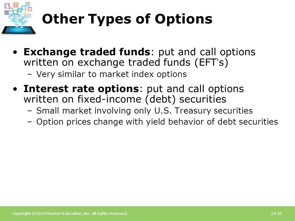 Other Types of Options Exchange traded funds: put and call options written on exchange traded funds (EFT's)