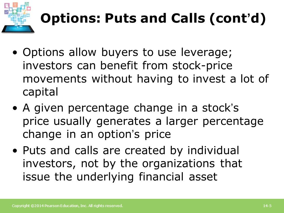 Options: Puts and Calls (cont'd)
