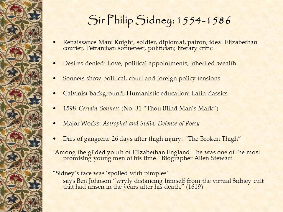 Sir Philip Sidney: 1554-1586
