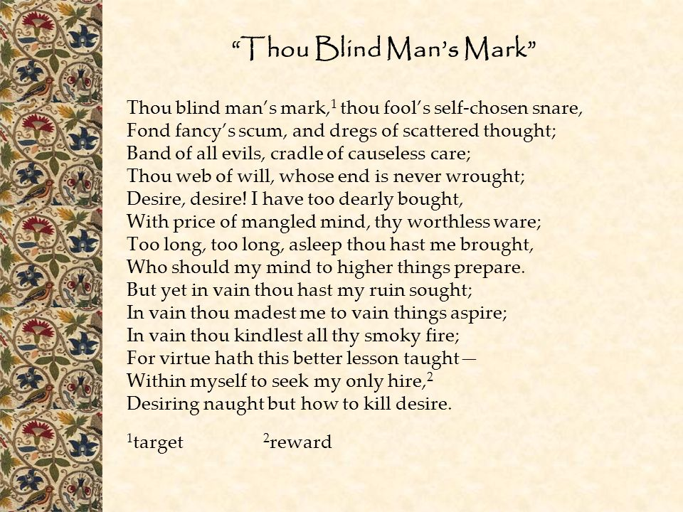 Thou Blind Man's Mark