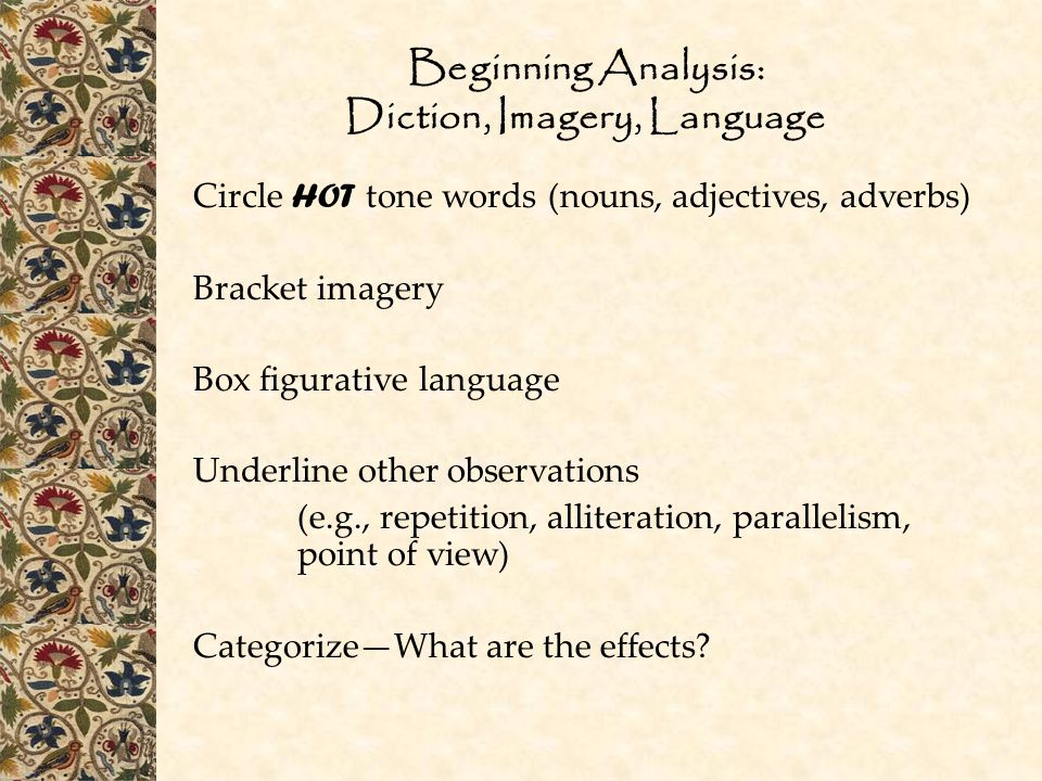 Beginning Analysis: Diction, Imagery, Language