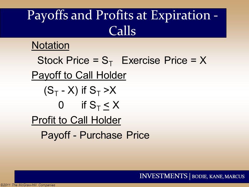 Payoffs and Profits at Expiration - Calls